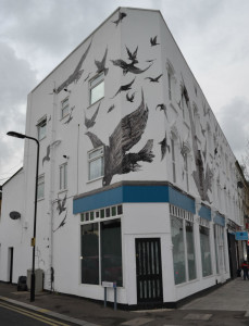 The birds paintings on the house corner in Leyton