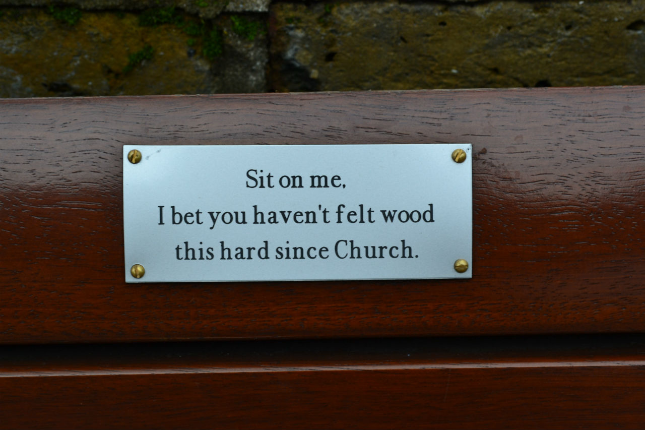 An excellent inscription on the bench outside St John's churchyard on Church Lane. Photo: Stephen Emms