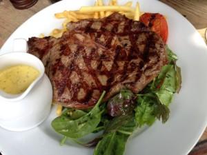 Fuel up: steak-frites at the best pub on the kilometre-long high street. Photo: SE
