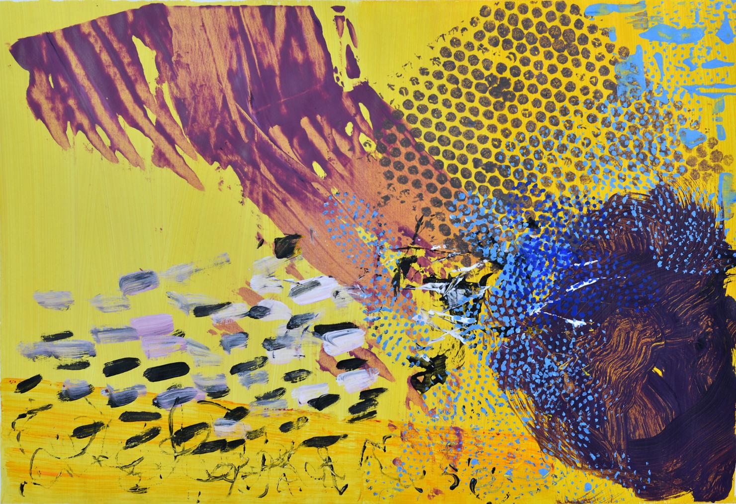 Sue McQueen, AK I yellow, Acrylic on paper.