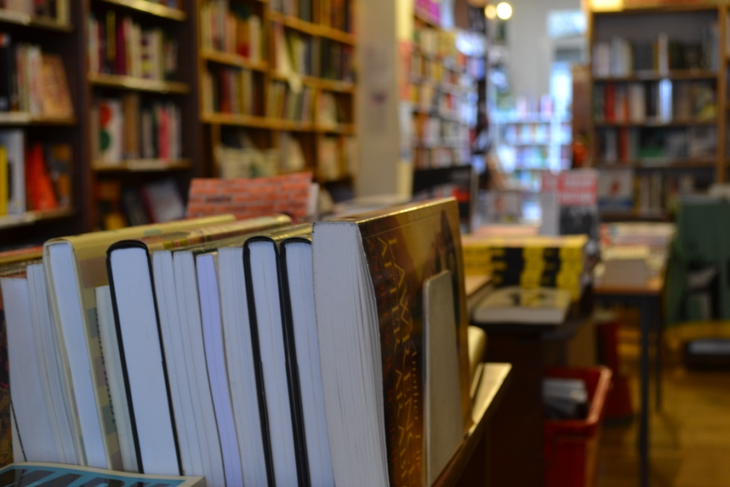 Row of books in Phlox Books interior