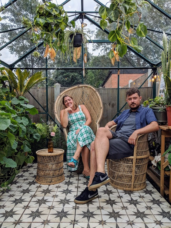 Eri and Jimmy in the garden at Little Leyton Greenhouse